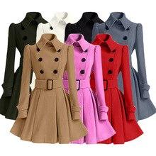Зимнее шерстяное пальто, ветровка, многоцветный женский пояс, бандажный Топ, шерсть, платье для девочек, куртка, уличная одежда, толстые женские топы