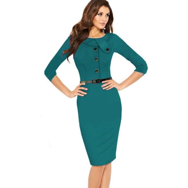 8350e7bf0 Nueva Moda 2016 Bodycon Vestido de Las Mujeres Elegantes Vestido de Midi  Lápiz Oficina de Trabajo