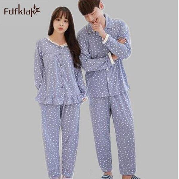 103815e644 Korean brand 2017 pyjamas women long sleeve autumn winter couples nightwear  cotton sleep clothes women s pajamas pijamas mujer