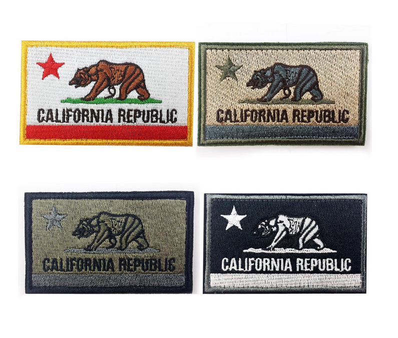 American US California state flag California Republic Bear Tactical Morale Patch backing Coyote Embroidered Badge appliques