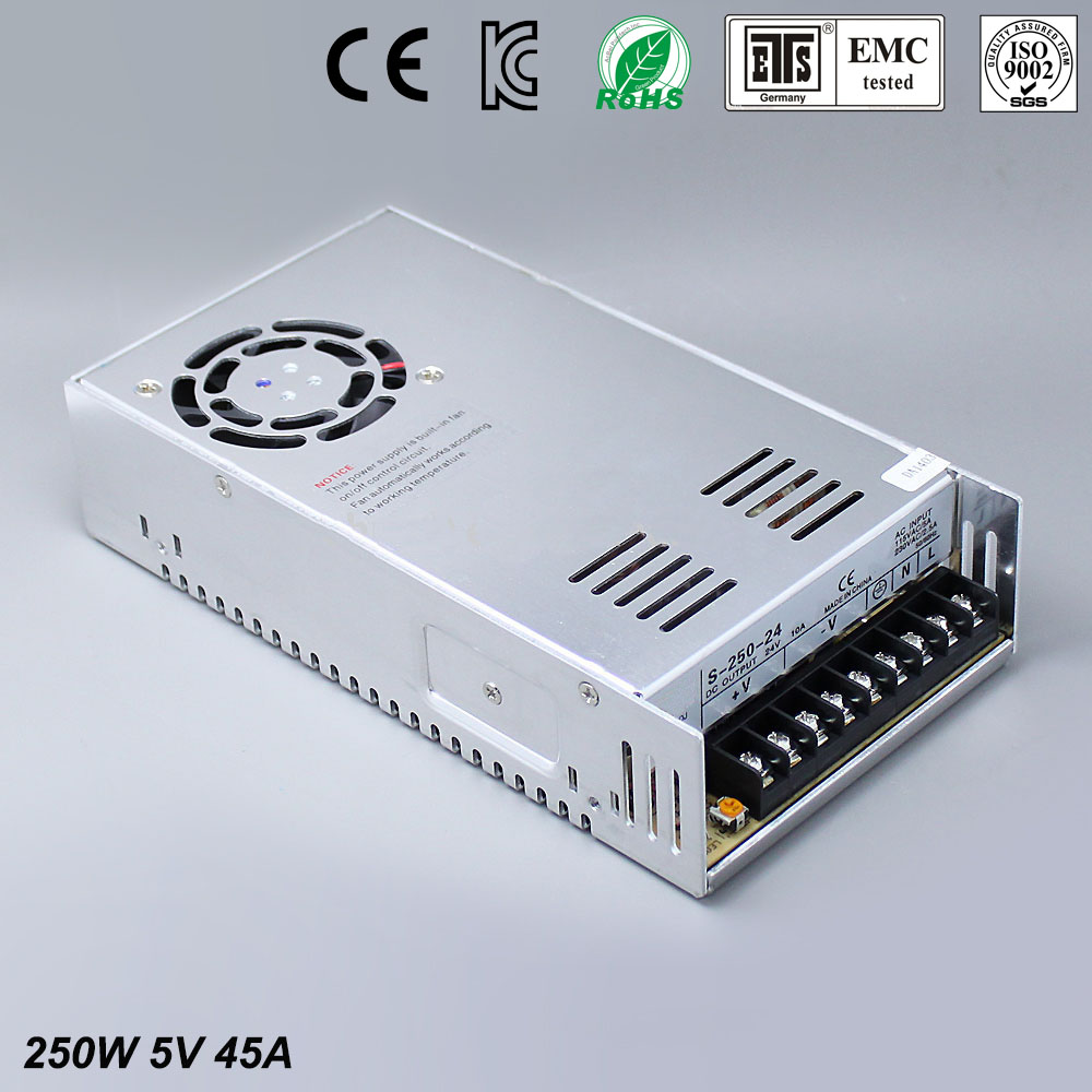 Best quality 5V 45A 250W Switching Power Supply Driver for LED Strip AC 100-240V Input to DC 5V free shipping best quality 5v 45a 250w switching power supply driver for led strip ac 100 240v input to dc 5v free shipping
