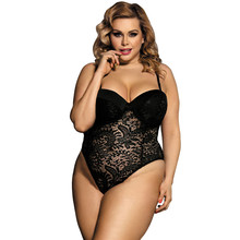 Body Sexy en dentelle érotique pour femmes, noir blanc Transparent sans manches, Teddy Lingerie Body R80285