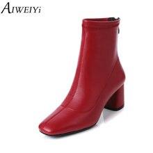 9b714a21 AIWEIYi botines para las mujeres New Square Toe tacones plataforma Martin  botas negro rojo espalda cremallera zapatos de las muj.