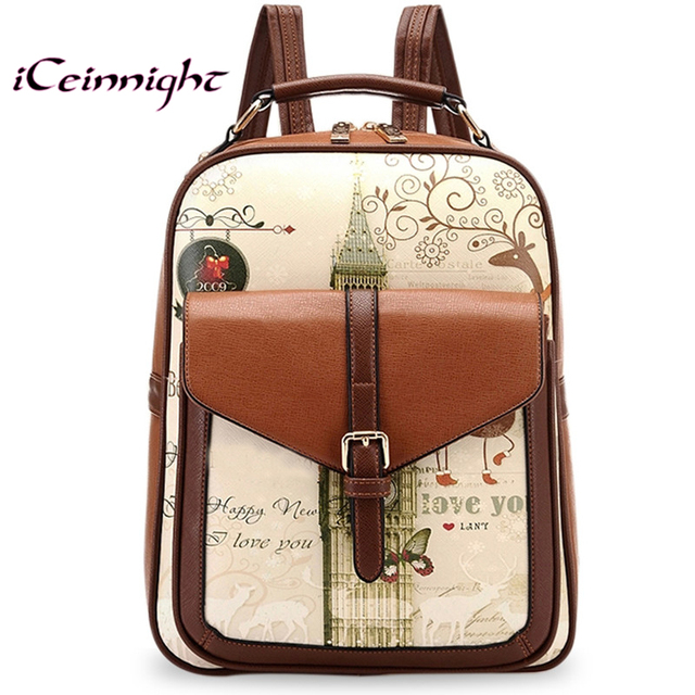 54440c848ffd ICeinnight Высокое качество кожа PU рюкзак школьные сумки для подростков  девушки маленькие рюкзаки стейси сумка винтаж
