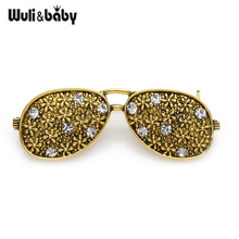 Wuli&baby Vintage Flower Glasses Brooch Pins Cute Sparkling Rhinestone Sunglass Bouquet Retro Puck Aceesorries 2019 New Design