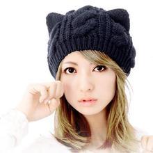 Encantadora orejas de gato sombrero las mujeres caliente Color sólido  hip-hop tapa señora niñas invierno lindo tejidos de lana C.. 2c156b41dca