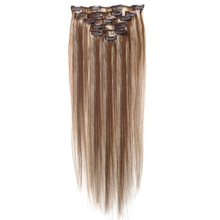 Best Sale Women Human Hair Clip In Hair Extensions 7pcs 70g 18inch Camel-brown + Gold-brown