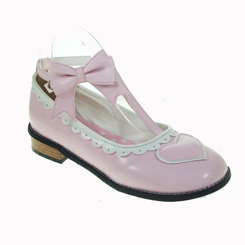 Sweet lolita Princess cos Popular lolita shoes flat heel sweet bow flat heel princess shoes 8066 pink   cosplay