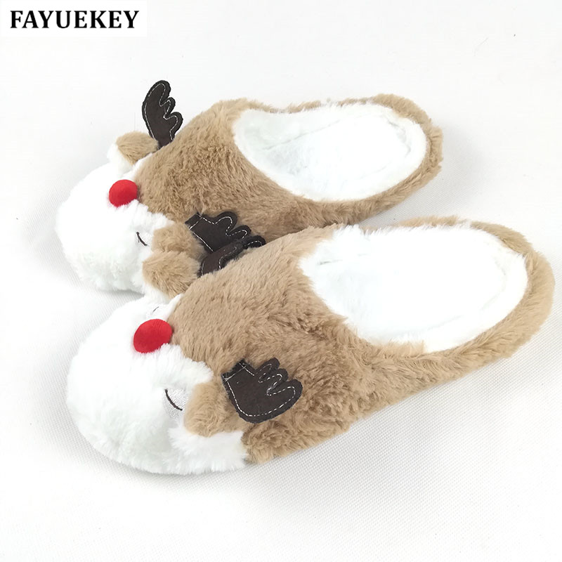 fayuekey autumn winter home cartoon animal christmas elk deer plush slippers women indoor floor warm slippers shoes girls gift