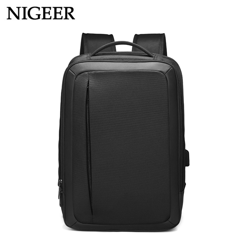 Nigeer Black Travel Backpack For Men 15.6 Inch Laptop Bag With Usb Charging Port Water Repellent Backpacks Business Male N115