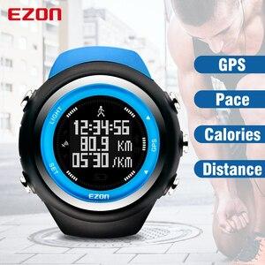 Image 1 - Top Merk Ezon T031 Oplaadbare Gps Timing Horloge Running Fitness Sport Horloges Calorieën Teller Afstand Tempo 50M Waterdicht