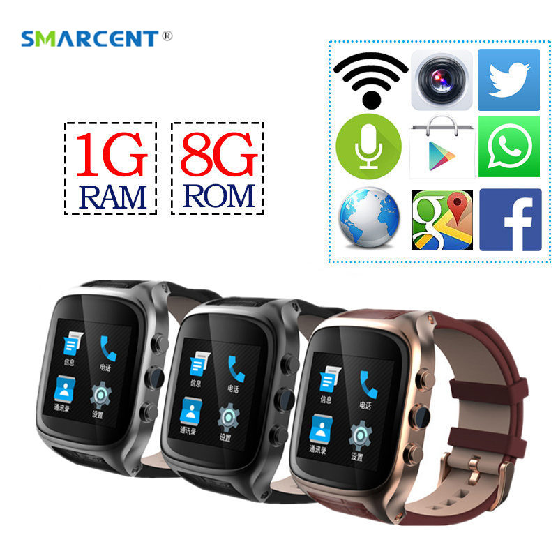 SMARCENT 3G Dual Core Heart Rate Watch WiFi Bluetooth X01S Android Smartwatch 1G+8G GPS Smart Watch 1.3 GHz with Camera pk T1 H1 no 1 d6 1 63 inch 3g smartwatch phone android 5 1 mtk6580 quad core 1 3ghz 1gb ram gps wifi bluetooth 4 0 heart rate monitoring