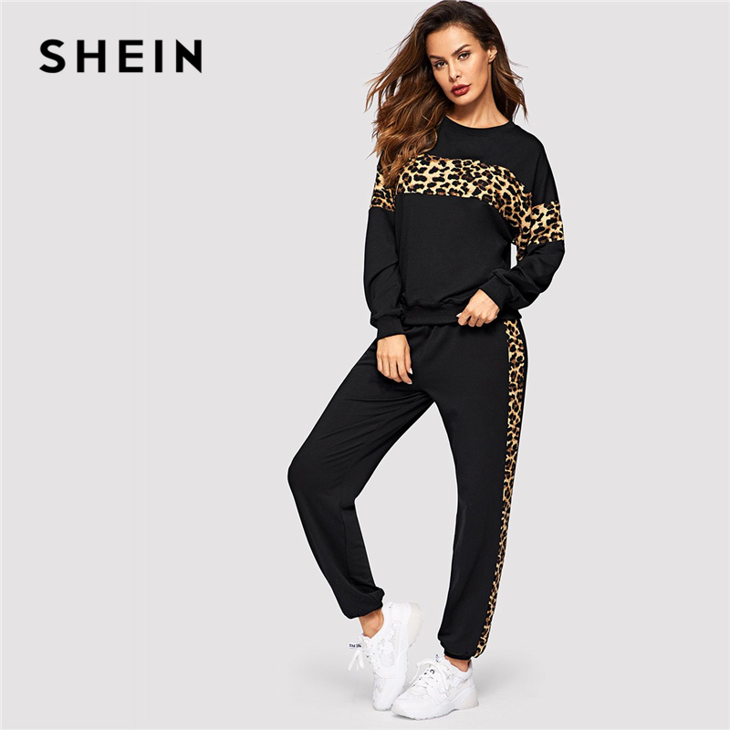 SHEIN Black Leopard Panel Pullover Women O-neck Athleisure Sweatshirt and Sweatpants Set Autumn Women Casual Two Piece Sets