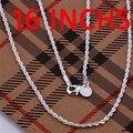 Colgantes del collar joyería cadenas, 925 de la joyería plateado collar de brillantes Twisted Line 2 mm 16 pulgadas collar fjxu leve