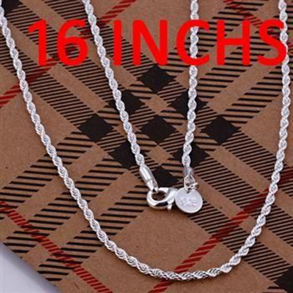 jewelry Necklace pendants Chains, 925 jewelry silver plated necklace Shining Twisted Line 2mm 16 inches Necklace fjxu leve