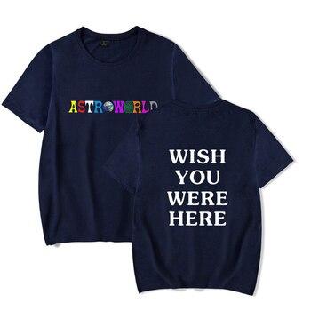 2018 New Fashion Hip Hop T Shirt Men Women Travis Scotts ASTROWORLD Harajuku T-Shirts WISH YOU WERE HERE Letter Print Tees Tops 1