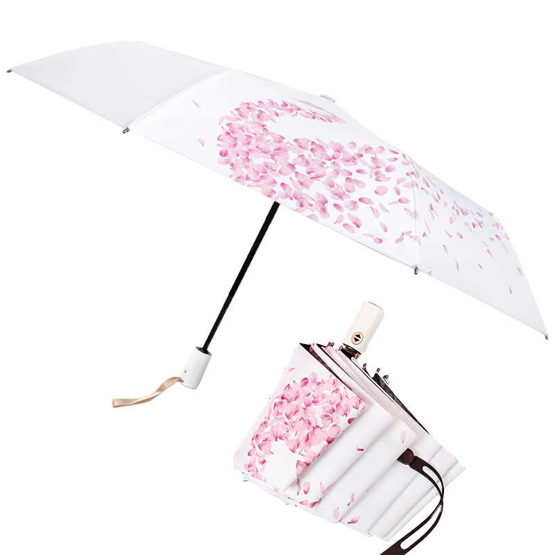 Manual//Full Automatic 3 Folding Sunshade Umbrella Rain Women Parasol Personality Boys Sun Rain Umbrella Anti UV Male Parapluie,full-automatic