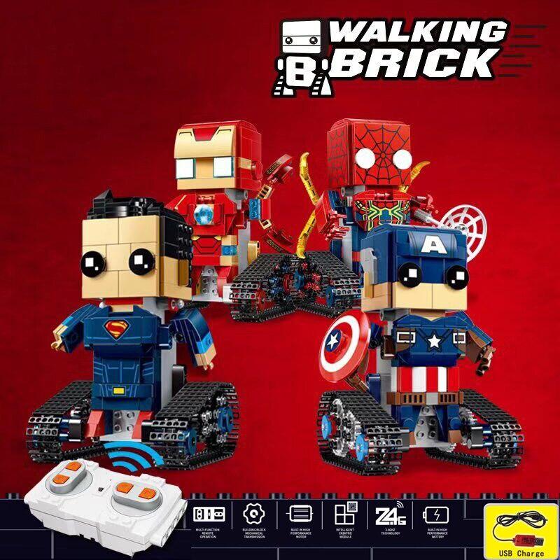 Technic série RC héros marche brique araignée/fer/Super Heros bloc de construction télécommande jouets Compatible avec Legoed