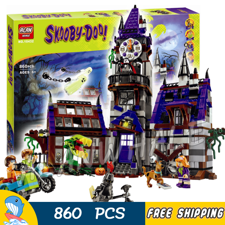 860pcs New Mystery Mansion Scooby Doo Dog Carton 10432 Movie Animal Model Building Blocks Kit toys Compatible with Lego bela 10432 compatible with lego 75904 scooby doo figures mystery mansion model building blocks educational toys for children