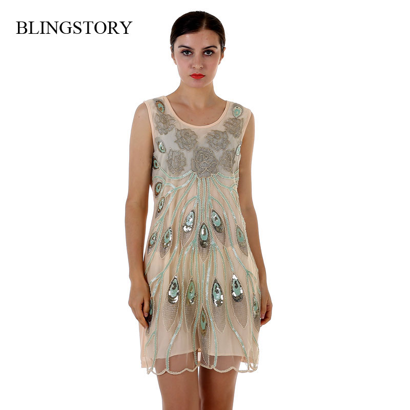 Buy Cheap BLINGSTORY New Summer Large Size Slim Sequins Disc Embroidery Flower Club Womens Summer Dresses Dropshipping BY89004