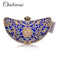 Chaliwini Classic Women Clutch Evening Bag Hollow Out Metal Wedding Sequined Shoulder Bag Prom Bridal Crystal Handbag Purses