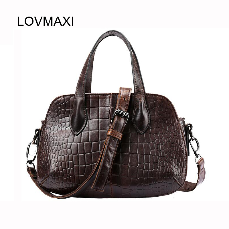 Genuine Leather Famous Design Women Tote Bags Vintage Women's Handbag Cow Leather Causal Shoulder Bags Fashion Messenger Bag цены