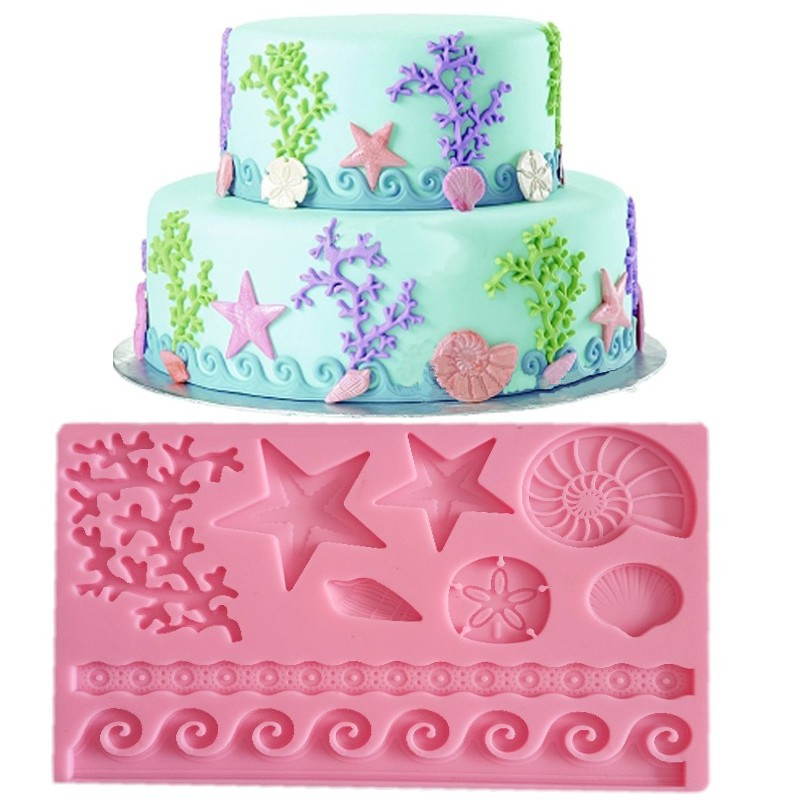 The Underwater World Silicone Soap Clay Molds Fondant Cake Decor DIY Chocolate Candy Cookie Sugarcraft Ice Mould Baking Tool image