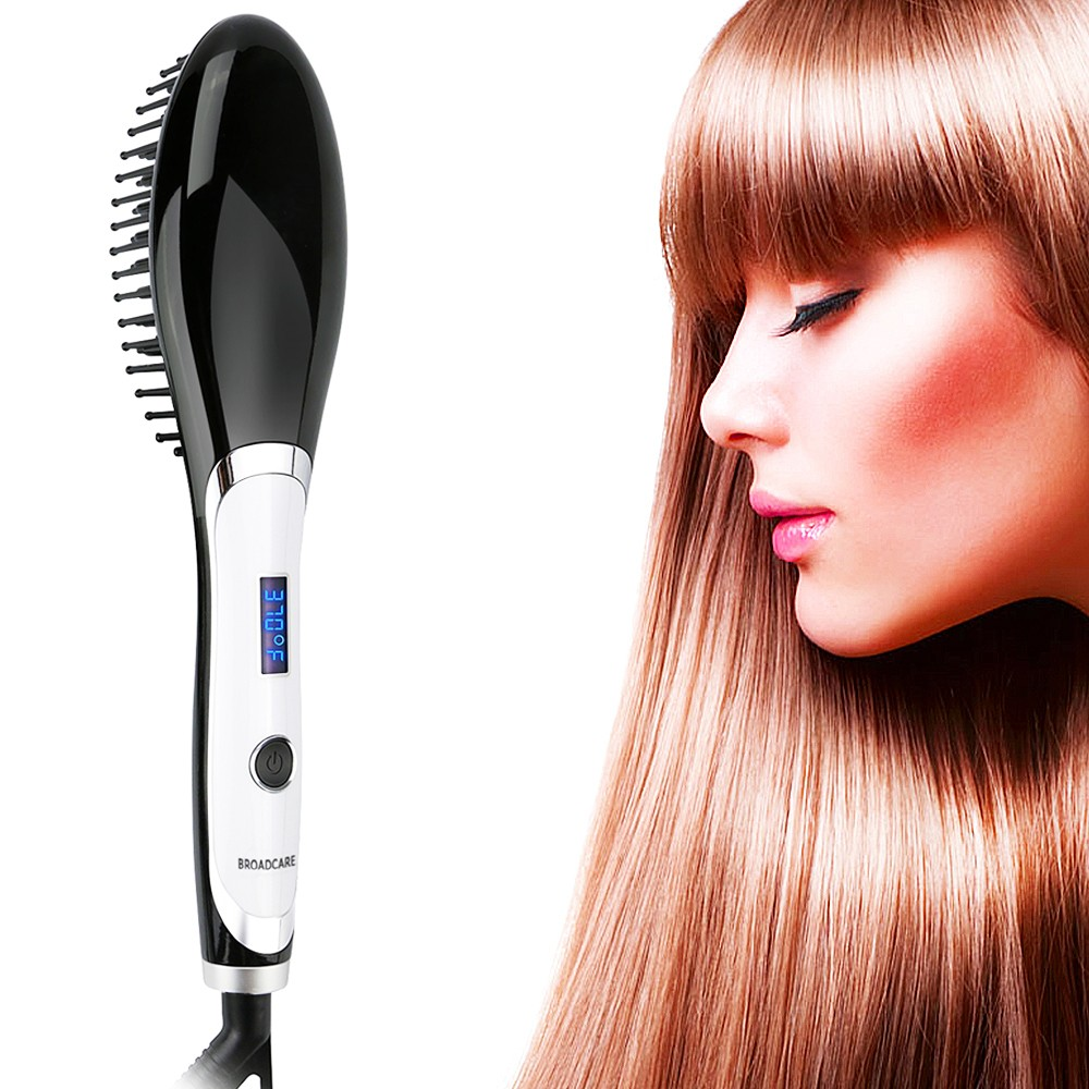 BROADCARE Digital Electric Hair Straightener Brush Comb Detangling Straightening Irons Hair Brush For styling tool UK Plug Black electric digital hair straightening irons professional fast ceramic hair straightener brush comb styling tools escova alisador