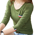 Manga longa Preto/Branco/Verde Do Exército Tops Tees Mulheres Primavera do Outono do Algodão Camisas Femininas 2016 Bolso Ocasional T camisa Mulheres A599