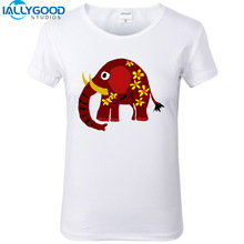 New Summer Fashion Funny Colorful Artistic Elephant and Daisies Art T-Shirts Women Soft Cotton Printed White T Shirts Tops S1178