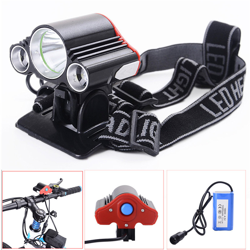 C3 3X T6 LED Bike Bicycle Front Light Lamp Headlight Headlamp+Battery+Charger Set Kit Safe And Stable Reliable Waterproof free shipping cob led h7 car headlight kit 66w 6000lm auto front light h7 fog bulb 3000k xenon white 6000k led headlamp