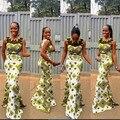 Moda mangas largas Mujeres del vestido lleno de estilo Africa áfrica dashiki impreso classic batik vestido de algodón con granadina