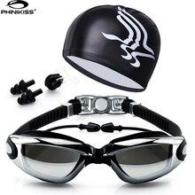 Очки для плавания с шапкой и ушками, с зажимом для носа, водонепроницаемые очки для плавания, противотуманные, профессиональные спортивные очки для плавания, костюм
