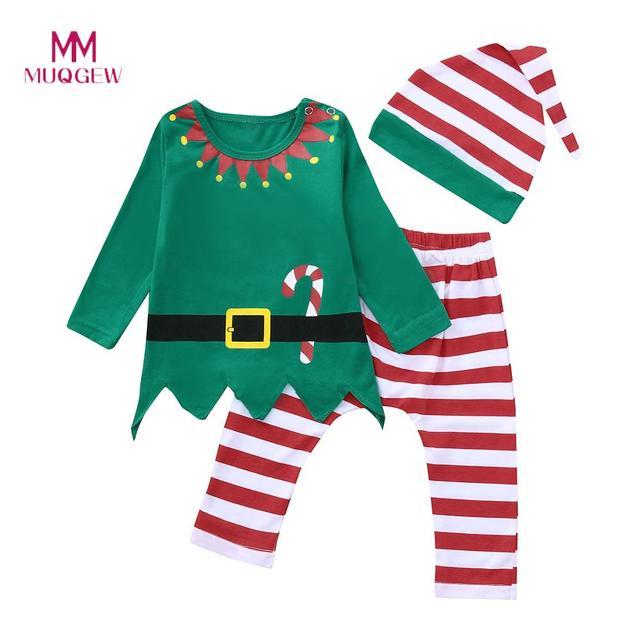 4fb8a1f27f9 MUQGEW Kids Clothes Set Long Sleeve O-neck Cotton Infant Kids Boy Girl T  shirt Tops+Striped Pants Christmas Set Clothing