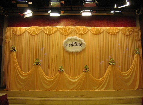 3M*6M Gold Yellow Swags Hot Sale Wedding Backdrop Stage Curtains(China  (Mainland