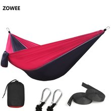 210T Nylon Parachute Hammock Light Weight Outdoor Camping Portable Single Hammock with hammock ropes and hammock carabiners