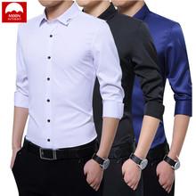 MOON Men Shirts New Arrivals Anti crease Finish Slim Fit Male Shirt Solid Long Sleeve British