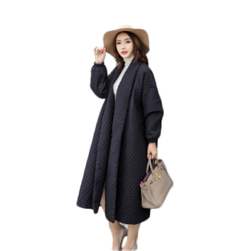 New Womwn's Cardigan 2018 Women Windbreaker Winter Coats Autumn Women Oversize Long Loose Black Windbreaker Long   Trench   Coat