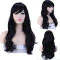 """Women Girl 19"""" long Curly Dark Black Full Wigs Heat Resistant Hair Wig"""