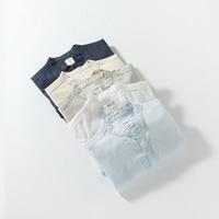 NEUHEITEN herren Sommer Langarm Baumwolle Leinenhemd Kausalen stehen Neck Slim Fit Weiß Shirts Männliche Hochwertigen Dünne Tops