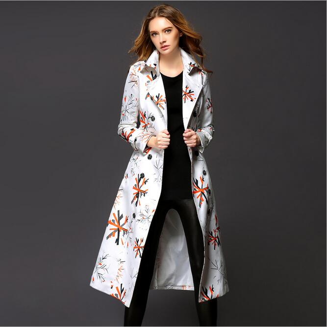 Long Trench Coat For Womens Fall And Winter Coat Burb Trench European Trench Coat Printing Shitsuke