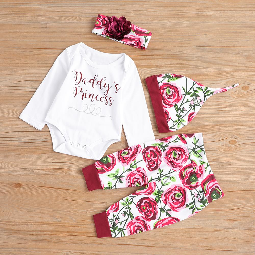 PatPat Autumn and <font><b>Winter</b></font> Cotton <font><b>Newborn</b></font> Casual 4 Piece Jumpsuit Rose Print Trousers Hat and <font><b>Baby</b></font> <font><b>Girl</b></font> Headband Crawling Suit image
