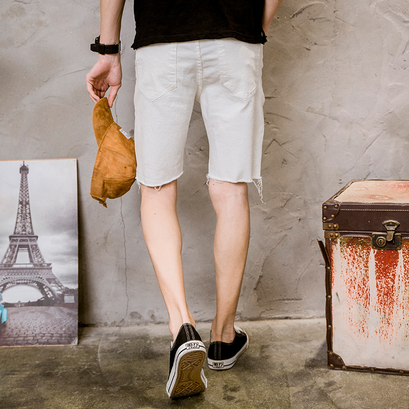 mens shorts white cotton summer male black white shorts for man casual Short pants Moustache Effect Distressed vintage straight