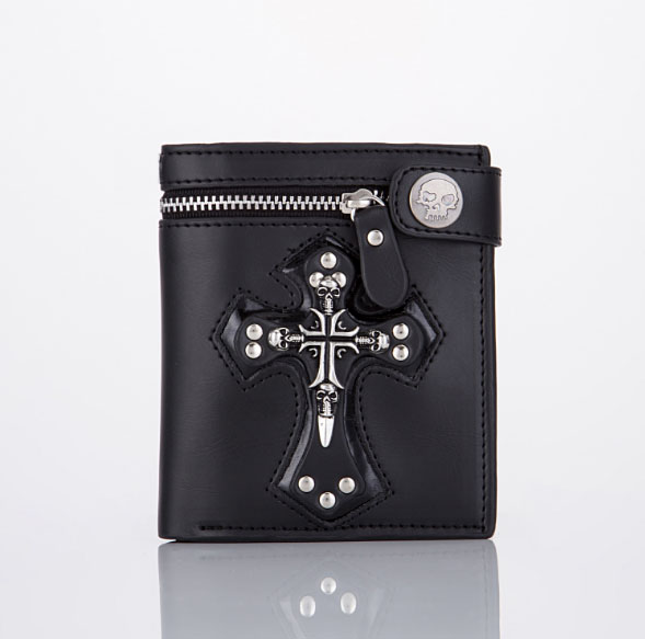 High Quality Black Brown Rocker SKULLS & CROSS LEATHER Men Boy WALLET for Christmas Gifts, New Year Gifts