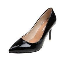 2018 г. осенние новые корейские модные однотонные туфли с острым носком на высоком каблуке из лакированной кожи, пикантная женская обувь на шпильках черного цвета ljj 0106