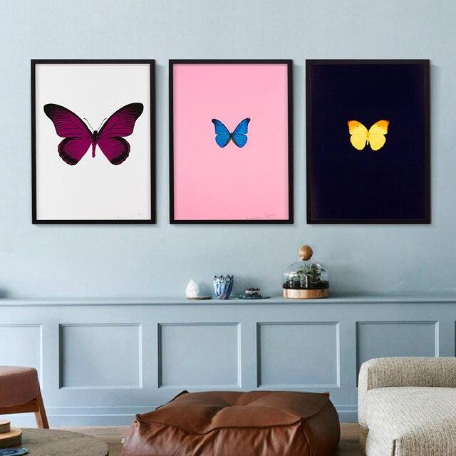 Belle Papillon Imprimé sur Toile Rose Bleu Fly Spécimen Mur Photo ...