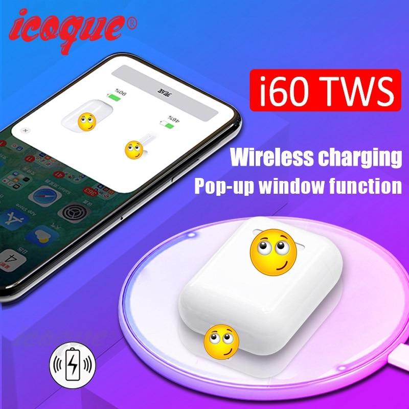 i60 TWS Pop Up 1 1 Wireless Bluetooth Earphone Wireless Charging W1 Chip Bass Headphones Wireless