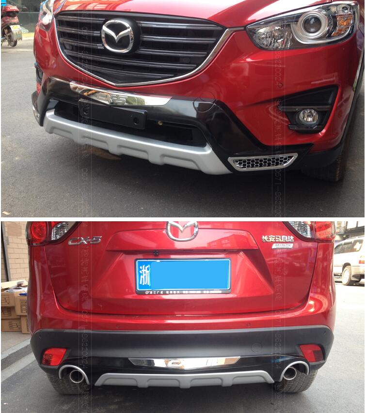 Mazda Cx 5 Accessories >> 2PCS Car ABS Front + Rear Bumper Protector Guard Skid Plate For 13 16 MAZDA CX 5 CX5 2013 2014 ...