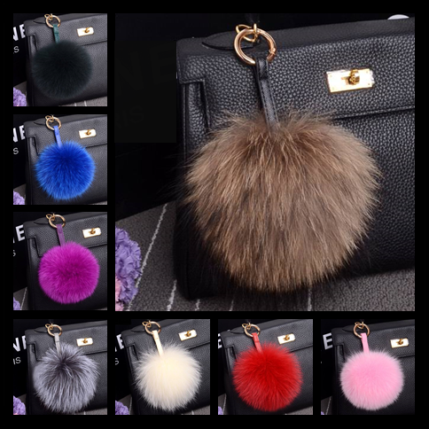 13 cm Genuine Fox Fur Pom Pom Handmade Real Leather Strap Bag Charm Keychain Pompom Key Chain Ring Luxury Car Jewelry Pendant