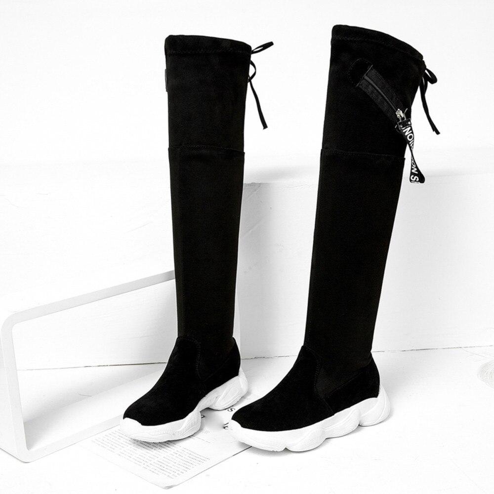 Cuissardes Femme blanc 2018 Automne Femmes Mujer Sur Casual De Zapatos Bottes Mode Genou Noir Confortable Le Chaussures tqPRwwg